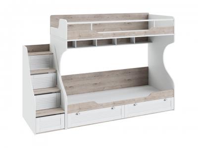 Кровать двухъярусная с лестницей Ривьера СМ 241.11.12 Дуб Бонифацио, Белый