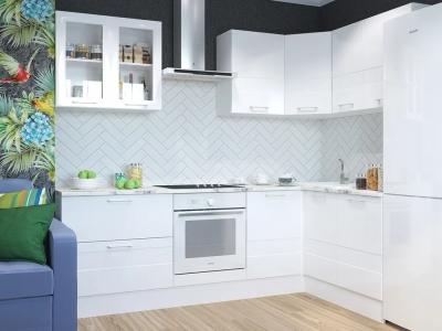 Кухня угловая Люкс белый глянец
