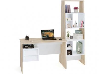 Письменный стол Сокол КСТ-115 со стеллажом Дуб Сонома/Белый