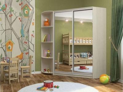 Угловой шкаф-купе Анна с 2-мя зеркалами и угловым элементом бодега светлая