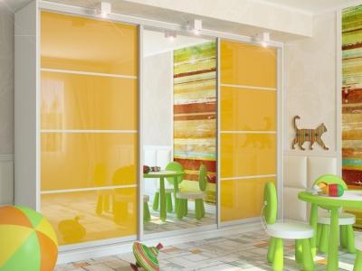 Шкаф-купе Татьяна две двери МДФ белый-желтый