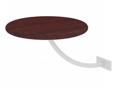Полка прикроватная круглая Милсон коричневая-металл белый